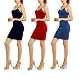 Glass House Apparel Women's 3-Pack Seamless Spaghetti Strap Sexy Bodycon Dress (Black, Red, Navy)