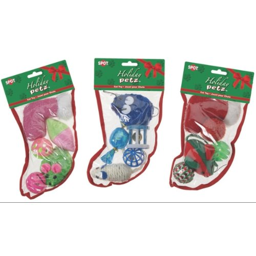 Ethical Pets Holiday Cat Toy Stocking 5pc-Small (Stocking Holiday Cat)