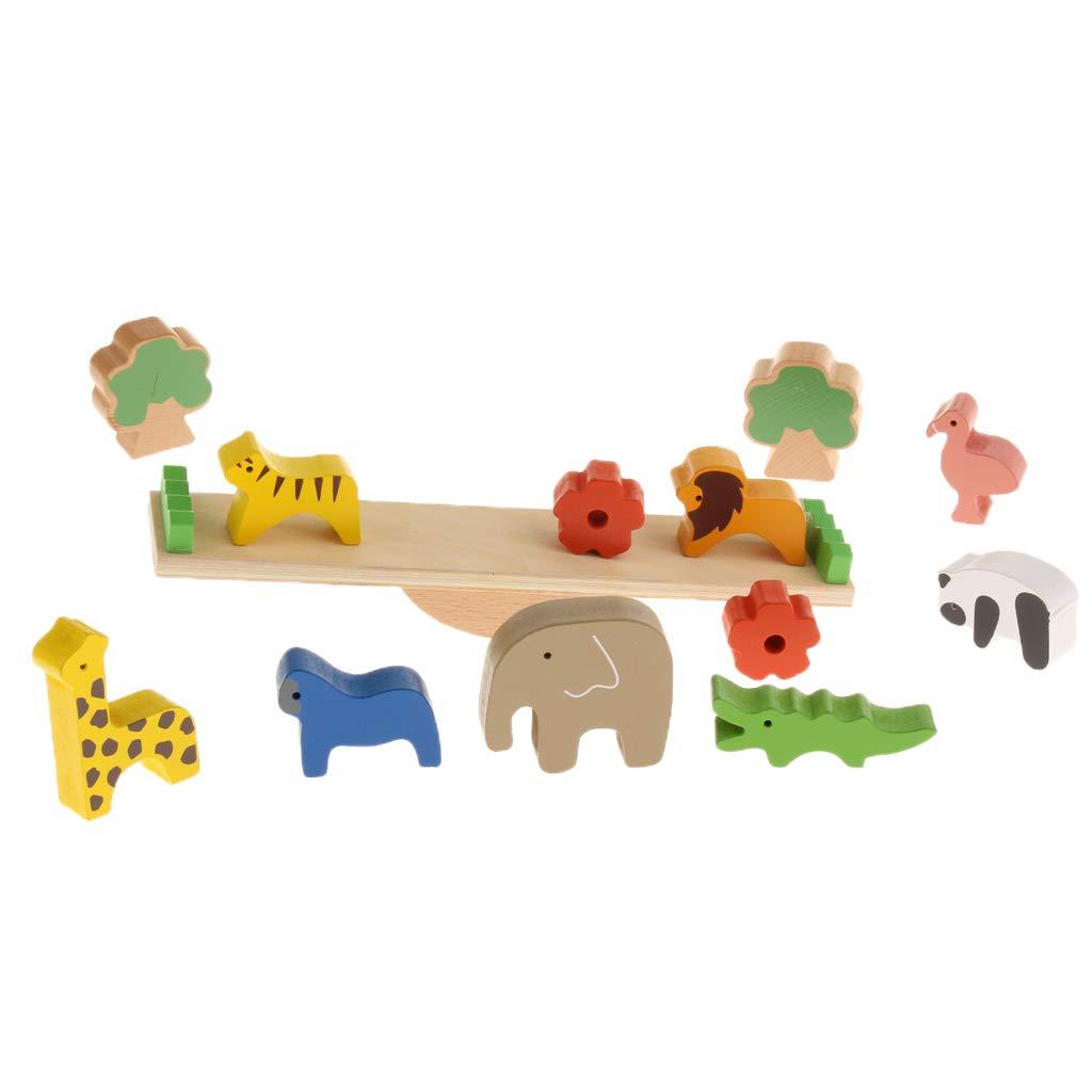 Fityle 木製 教育的 モンテッソーリおもちゃ 赤ちゃん 幼児 - 森の動物の組立用バランストイ   B07K39LCDH