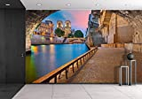 wall26 - Paris. Image of the Notre-Dame Cathedral and Riverside of Seine River in Paris, France - Removable Wall Mural | Self-adhesive Large Wallpaper - 66x96 inches