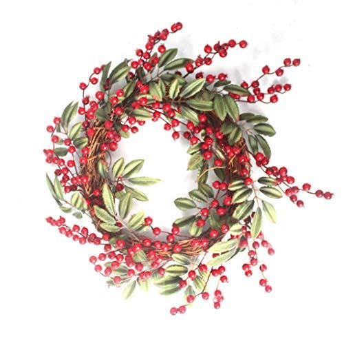 MQHSDT Christmas Wreath, Red Fruit Wreath 50 cm Simulation Red Fruit Christmas Wreath Door Trim Rural Rattan Circle Hotel Window -