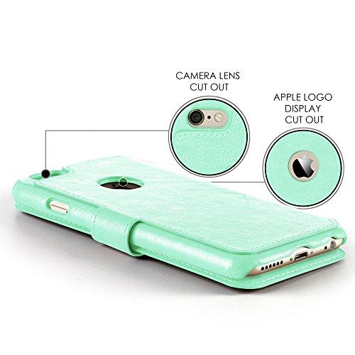 Lockwood iPhone 6/6s | Folio Wallet Card Case | Faux Leather | Vintage Mint | (4.7 Inch) | Ultra Slim & Light