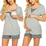Ekouaer Women Soft Maternity & Nursing Pajama Set Short Sleeve Stripes Hospital Pajamas Pregnancy Sleepwear Sets (Light Grey M)