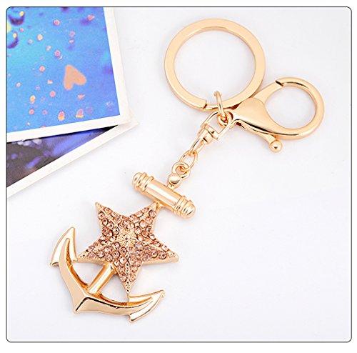 (GH8 Kawaii Cute Ship's Anchor Five-Pointed Star Shape As Charms Car Key Chains Key Ring Tassels Keyring Keychains linnor Women Bag Charms DIY (Champagne))