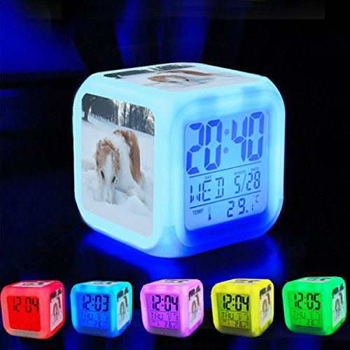 Borzoi Clock - Alarm Clock 7 LED Color Changing Wake Up Bedroom with Data and Temperature Display (Changable Color) Customize the pattern-321.- Dog, Borzoi, Hound, Winter, Snow - 837360