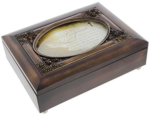 Cottage Garden Dark Woodgrain Music Box with Poem Insert