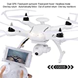 AOSENMA CG035 FPV RC Quadcopter Drone with 1080P HD Camera, Double GPS RC Helicopter with Headless Mode, One Key Return, Brushless Motor (White)