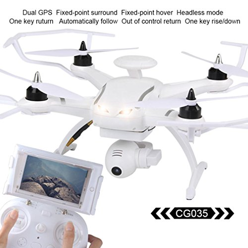 AOSENMA CG035 FPV RC Quadcopter Drone with 1080P HD Camera, Double GPS RC Helicopter with Headless Mode, One Key Return, Brushless Motor (White) by Dirance