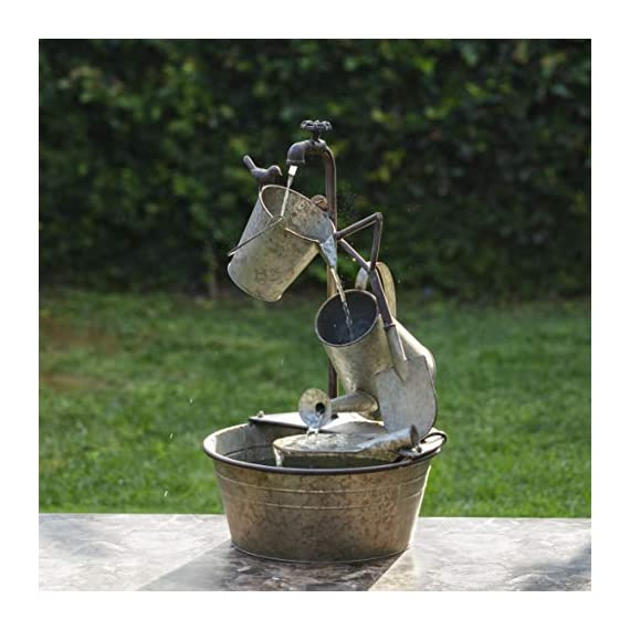 "Alpine Corporation 28"" Tall Outdoor 3-Tier Metal Garden Tools Water Fountain - GARDEN TOOL FOUNTAIN: Garden water fountain features various familiar tools and a bird figurine — the perfect addition to your outdoor décor. Interior pump keeps the water flowing — just plug it in! RELAXING WATER FLOW: Water trickles from the pump spout into the buckets and can, adding a peaceful ambiance to your outdoor setting RUSTIC LOOK: Realistic iron garden tools and pump head design for an old-fashioned farmhouse feel - patio, outdoor-decor, fountains - 51K6qPdoXFL. SS570  -"