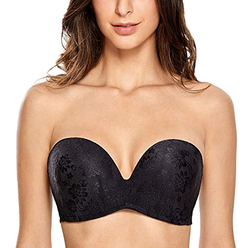 DELIMIRA Women's Slightly Lined Lift Great Support Strapless Bra Plus Size Black_Jacquard 36F
