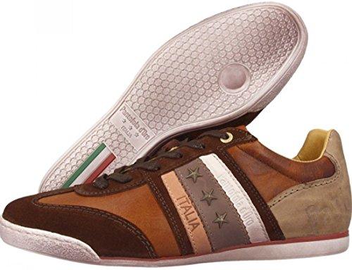 Pantofola d'Ora Imola Ascoli Marron Blanc Cuir Hommes Chaussures Formateurs