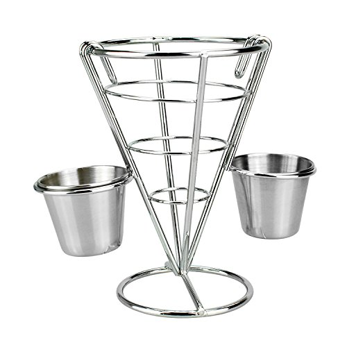 HoststyleZ French Fries Holder, Stainless Steel Party Platter, Serving Trays for parties Cone Fries Popcorn Vegetables Fruit with Double Sauce Dishes