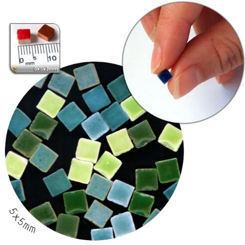 - Mosaic-Minis(3/16 inch) (5x5x3mm), 1.000 pieces, mix green, MXVR