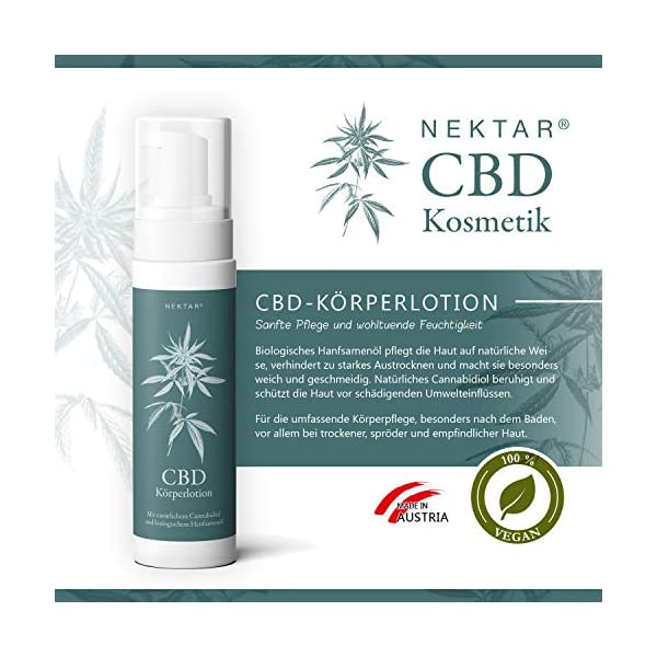 Nectar CBD body lotion for dry, sensitive and sensitive skin, caring lotion has soothing and firming effect also as a cream for itching, redness and inflammation, natural cosmetics pH-neutral