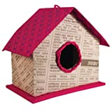 Fair-Trade Upcycled Paperboard Birdhouse/Ornament - PINK (3''H x 4''W)