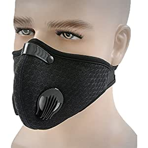 Topnisus Anti Pollution Dust Mask with Filter for Cycling Running Outdoor Activities Dustproof Cycling Mask (Black)