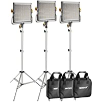 Neewer 3-Pack 480 LED Video Light with 78.7-inch Stainless Steel Light Stand Kit: Dimmable Bi-color LED Panel with U Bracket (3200-5600K,CRI 96+) for Photo Studio Portrait, YouTube Video Photography