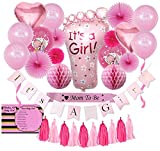 Baby Shower Decorations for Girl | (31 Piece) | Baby Shower Decorations | It's a Girl Banner | Paper Tassels, Fans, Honeycombs | It's a Girl Balloons | Pink Satin Mom to Be Sash
