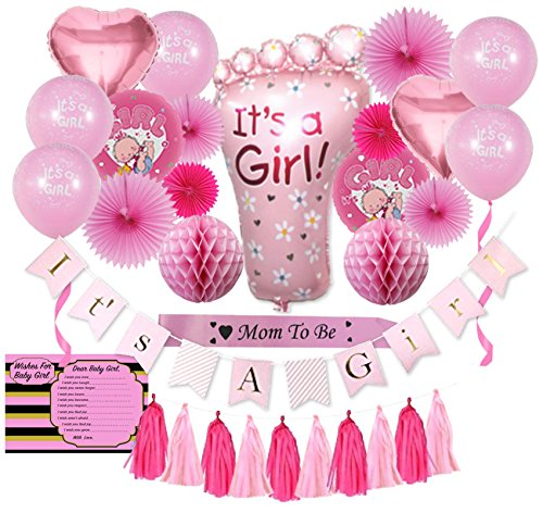 Baby Shower Decorations for Girl | (31 Piece) | Baby Shower Decorations | It's a Girl Banner | Paper Tassels, Fans, Honeycombs | It's a Girl Balloons | Pink Satin Mom to Be Sash by Mystique Party Decor