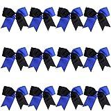 8 Inch 2 Colors Jumbo Cheerleader Bows Ponytail Holder Cheerleading Bows Hair (Royal blue/Black)