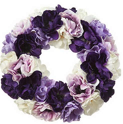 (Mikash 14 Silk Anemone Flower Hanging Wreath -Assorted (Pack of 2) | Model WRTH - 129)