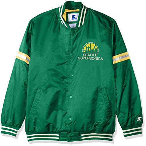 Supersonics Men's Legecy Retro Satin Jacket, X-Large, Green ()