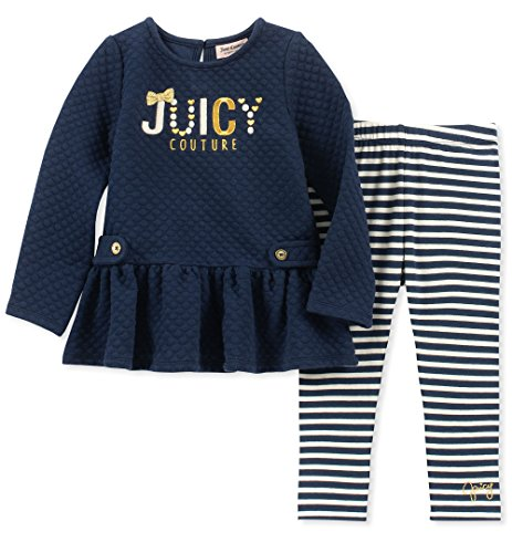 Juicy Couture Girls' Big 2 Pieces Tunic Legging Set, Navy/Blue Stripes 8/10 -