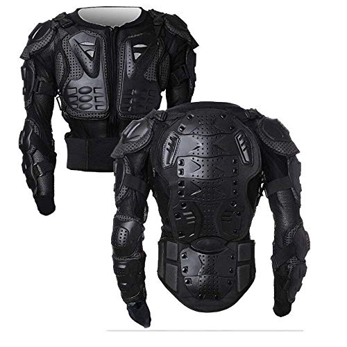 Motorcycle Full Body Armor Protector Pro Street Motocross ATV Guard Shirt Jacket with Back Protection Black XL -