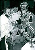 Vintage photo of Prince Mihailo, son of Prince Tomislav and Princess Linda of Yugoslavia, being baptised at the Serbian Orthodox Church of St. Sava.