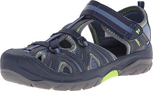 Merrell Hydro Water Sandal , Navy/Green,7 M US Big Kid