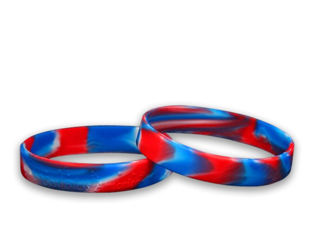 50 Pack Patriotic Red, White & Blue Silicone Bracelets - Adult Size (Wholesale Pack - 50 Bracelets)
