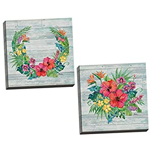 Gango Home Decor Country-Rustic Floral Decor | Colorful Bird of Paradise, Hibiscus, Pansy Flower Ring & Bouquet by Paul Brent (Ready to Hang); Two 12x12in Hand-Stretched Canvases 29