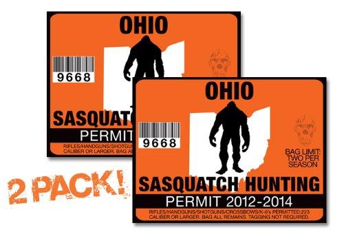 Ohio-SASQUATCH HUNTING PERMIT LICENSE TAG DECAL TRUCK POLARIS RZR JEEP WRANGLER STICKER 2-PACK!-OH