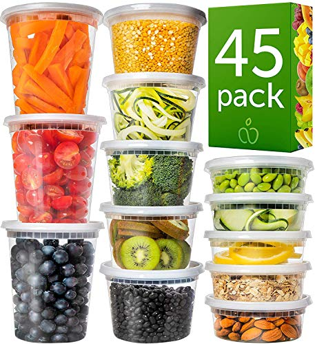 Prep Naturals Plastic Containers with Lids Set 45 Pack - Freezer Containers Deli Containers with Lids - Meal Prep Containers for Food Storage Containers - Plastic Food Containers (Mixed Sizes)