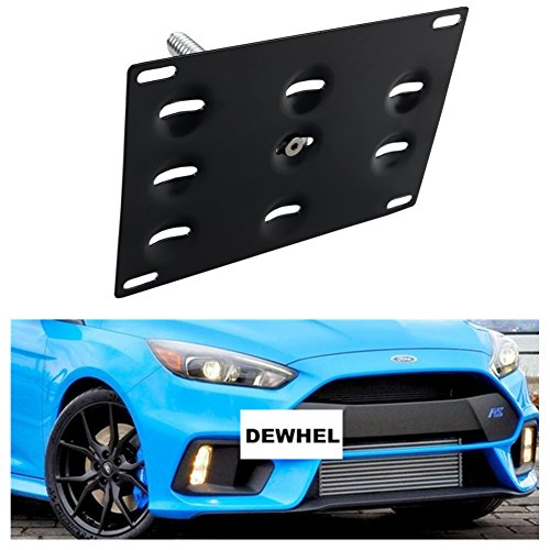 - DEWHEL Front Bumper Tow Hook License Plate Mount Bracket Holder Bolt On Relocation Kit No Drill Hole for 16-Up Ford Focus RS