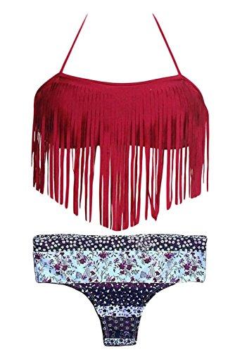 HOTAPEI Halter Tassel Printed Swimsuit