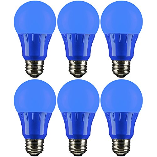 Sunlite A19/3W/B/LED/6PK LED Colored A19 3W Light Bulbs with Medium (E26) Base (6 Pack), (Coloured Led)