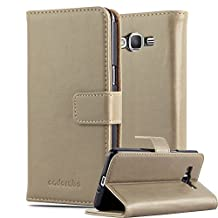 Cadorabo – Luxury Book Style Wallet Design Case for Samsung Galaxy GRAND PRIME with 2 Card Slots and Stand Function - Etui Case Cover Protection Pouch in CAPPUCINO-BROWN