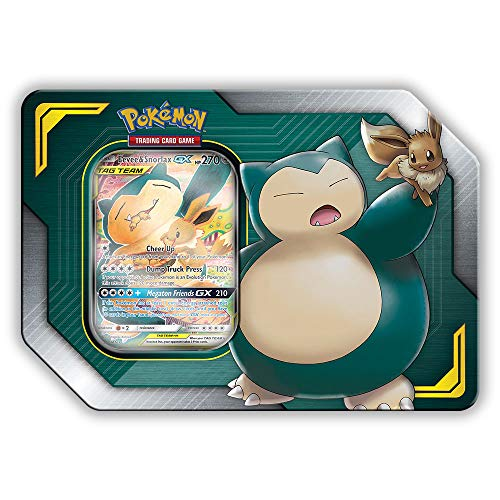 (Pokemon TCG: Sun & Moon Team Up Collector's Tin Containing 4 Booster Packs and Featuring A Foil Eevee & Snorlax GX Card)