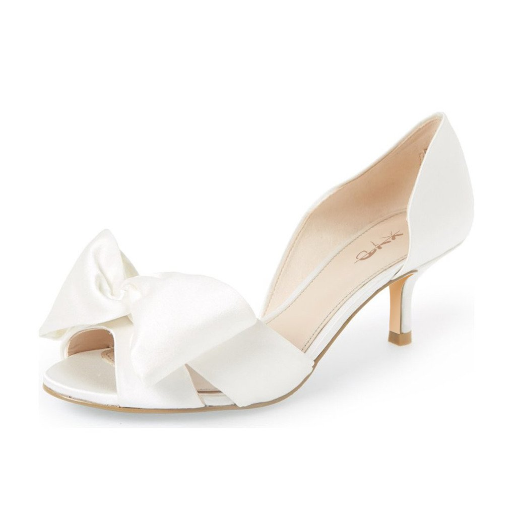 XYD Women Low Heel D'Orsay Pumps Peep Toe Slip On Dress Sandals Shoes with Bowknot Size 11 Ivory
