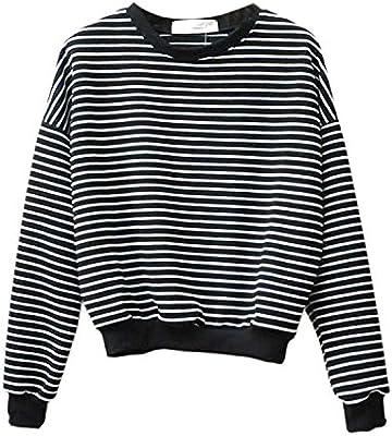 Women Spring Autumn Navy Harajuku Striped Sweatshirt Long Sleeved Tops