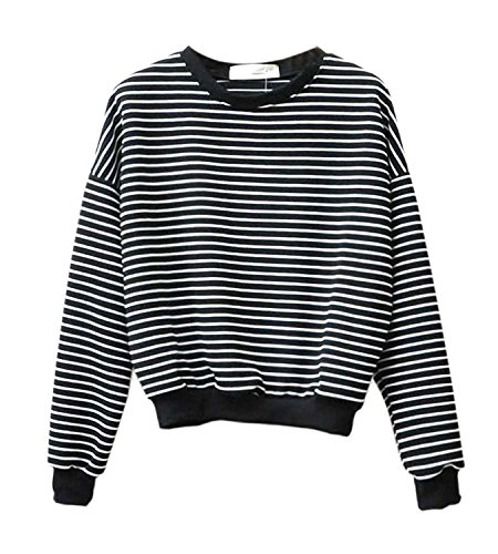 Women Spring Autumn Navy Harajuku Striped Sweatshirt Long Sleeved Tops Size M (Black)