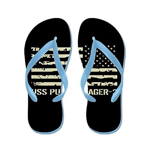 Cafepress Uss Pueblo - Flip Flops, Roliga Rem Sandaler, Strand Sandaler Caribbean Blue