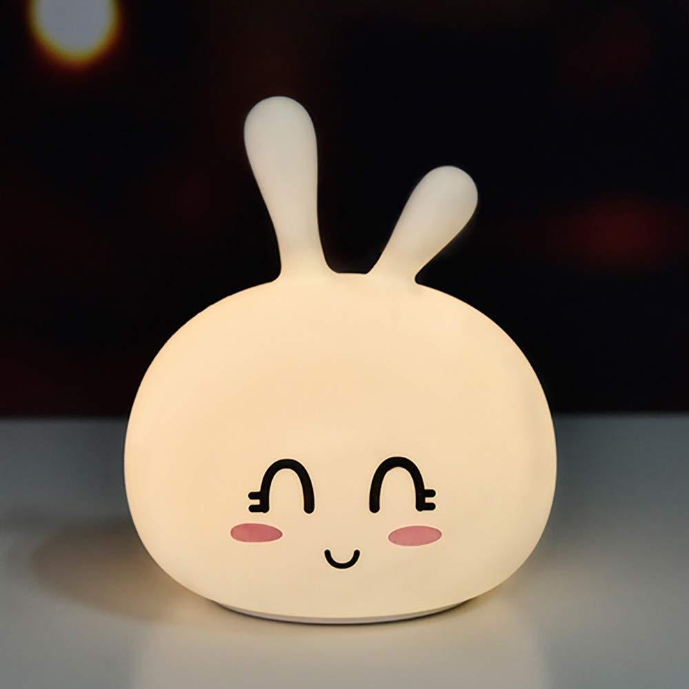 ナイトライト ベッドサイドランプ ledライト プレゼント 七色変換 萌え usb充電 授乳用 癒されるウサギ シリコン製 プリプリ (スマイル) product image