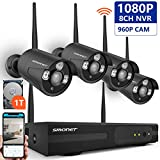 [Expandable System] Wireless Security Camera System,SMONET 8CH 1080P Ip Camera Security System with 1TB Hard Drive,4pcs 1.3MP Indoor/Outdoor Wireless Ip Cameras,P2P,65ft Night Vision,Easy Remote View
