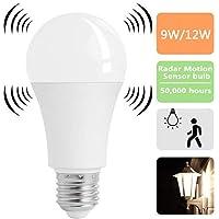 Asiawill E27 Radar-Sensor-LED-gloeilamp-bewegingssensor-Licht-Lamp Smart LED-gloeilamp Auto Off/ON (12W)