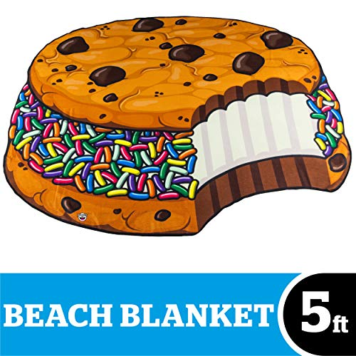 BigMouth Inc Giant Ice Cream Cookie Sandwich Beach Blanket, Oversized Beach Towel, Ulta-Soft Microfiber Towel, 5 Feet Wide, Washing Machine Friendly (Cookie Ice Cream Sandwich)