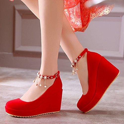 KHSKX Buckle Waterproof Wedding Red Bride'S Platform eight Shoe Mouth Heels 9Cm Slope Heel Single Shallow Thirty Word Drill Water qtRnBr8t