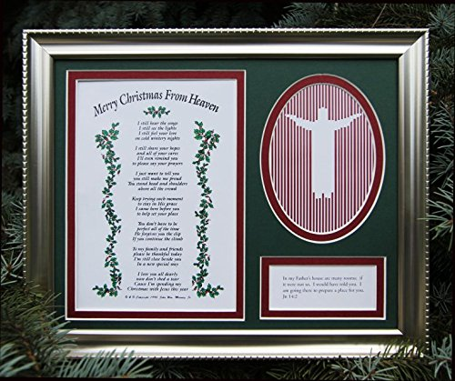 Merry Christmas From Heaven Remembrance Frame - Religious Memorial Bereavement Picture Photo Frame - A Sympathy Antique Silver/Pewter Patina Picture Frame with Poem and Photo Cutout (Christmas Family With Spending)