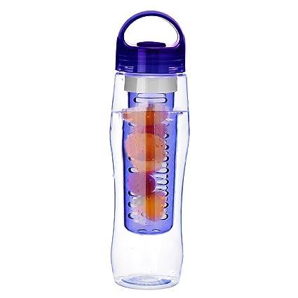aihome libre de BPA botella deportiva Mercancías Plástico Fruta Botella de agua con tapa 700 ml
